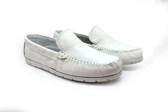 Sapato Branco Masculino Couro Sapatilha Mocassim Promoção