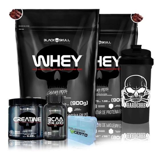 Kit 2x Whey Protein 900g + Bcaa + Creatina + Coq Black Skul