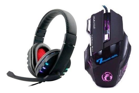 Kit Mouse Gamer 2400 Dpi + Headset Usb Ps3 Pc Note