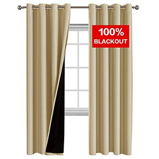 Flamingo P 100% Blackout Curtain Set, Thermal Insulated & E