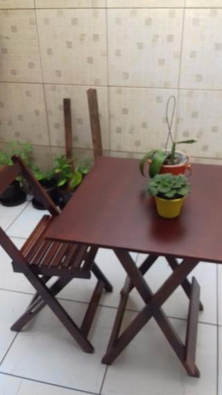 Jogo Mesa 70x70 Com 4 Cadeiras Dobrável