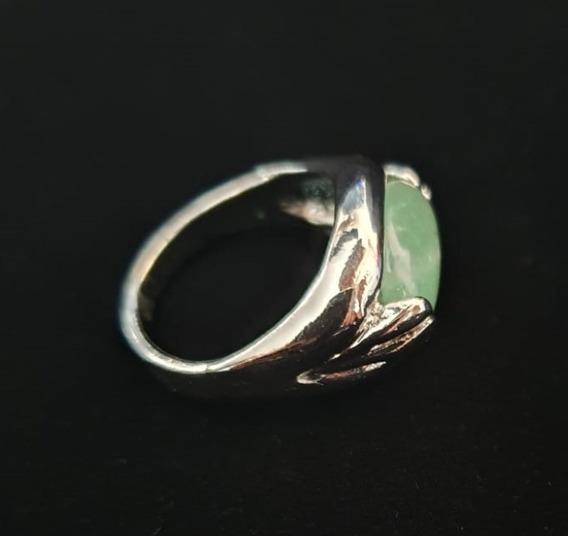Anillo De Fantasía Con Cuarzo Natural Jade Verde