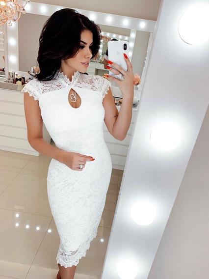 Vestido Midi Branco Off White Renda