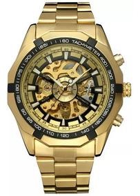 Relógio Masculino Dourado Skeleton Luxo Mecânico Automático