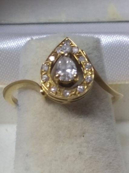Anillo Para Dama Diamante Gota Oro Amarillo 14 Kts