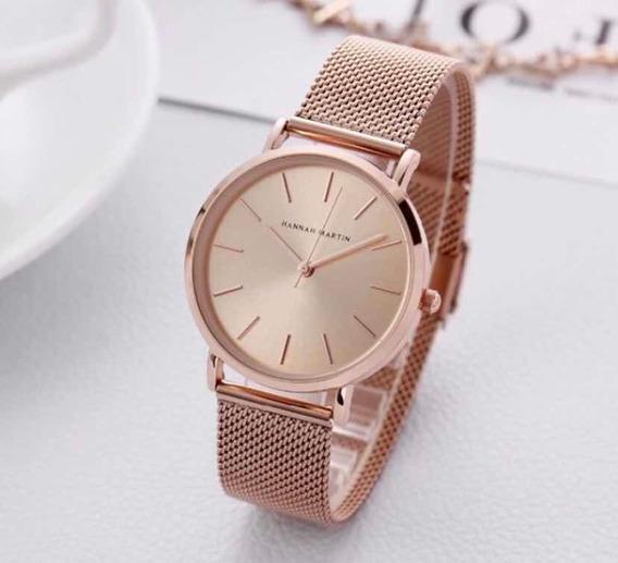 Relógio De Pulso Feminino Hanna Martin Rose Gold