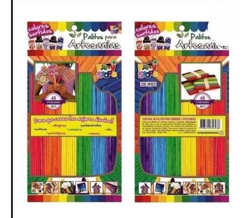 Palitos Helado Artesanías Grandes Multicolores X 48 U