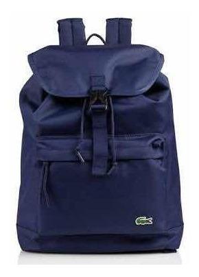Mochila Lacoste Backpack Con Broche , Azul Marino Original