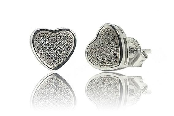 Aros Plata 925 Corazón Con Cubics Engarzados Rodinados Mujer