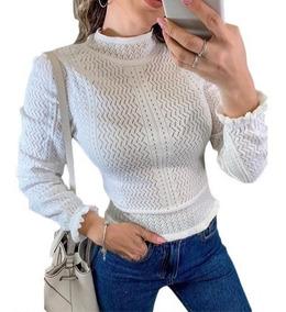 Blusa Tricot Vazadinha Detalhe No Pulso Feminina Modal Inver