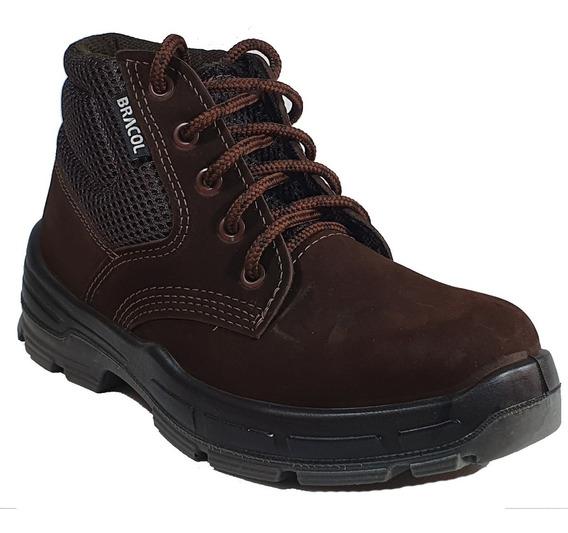 Bota Trabalho Segurança Sapato Botina Epi Nobuck Bracol Bae