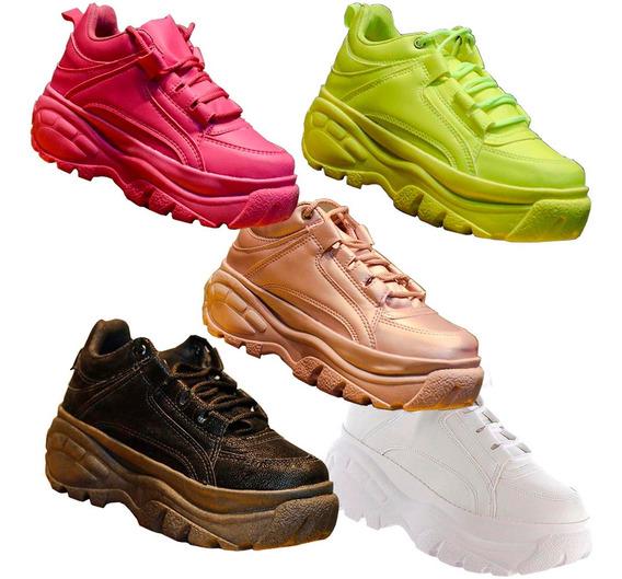 Tênis Sneaker Buffalo Plataforma Conforto Amarelo Neon Top
