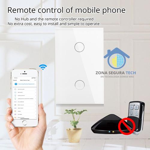 Imagen 1 de 7 de Interruptor Inteligente Touch Wifi + Rf 2 Botones Smart