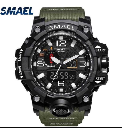 Relógio Smael Militar E Preto - Kit 2pçs