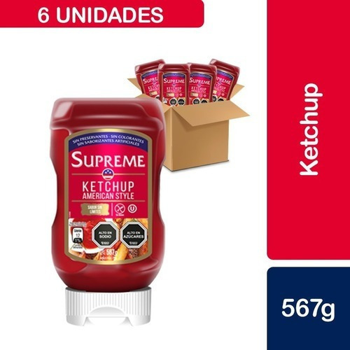 6 Unidades Ketchup Supreme, American Style Squeeze 567 G