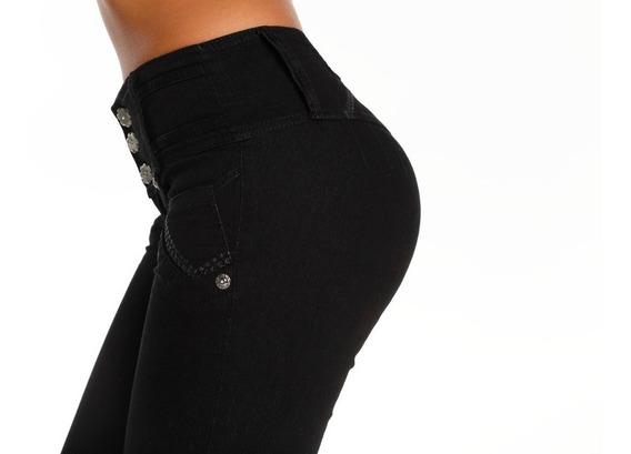 Jeans Semi Oxford O Chupin Cintura Faja Azul Oscuro