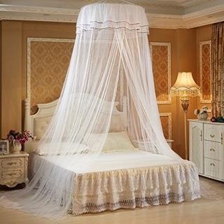Xshelley Round Double Lace Curtain Dome Bed Canopy Netting P