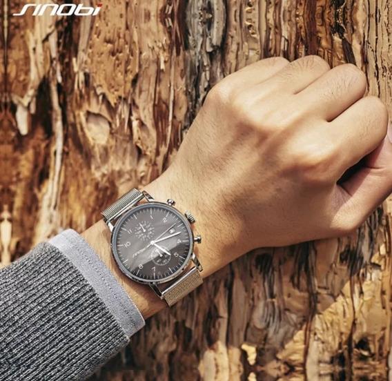 Relógio Sinobi Ultra Fino Para Homens(pulseira Metal)