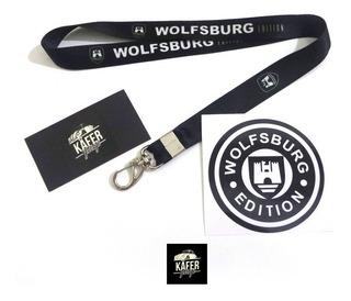 Chaveiro Cordão Wolfsburg + Adesivo - Old School - Vw Fusca