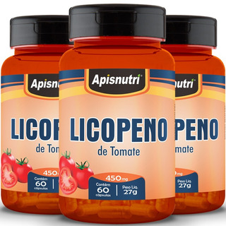 Kit Com 3 Licopeno De Tomate - Apisnutri - 60 Cápsulas