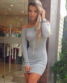 Vestido Listrado Feminino Curto Ombro Manga Longa