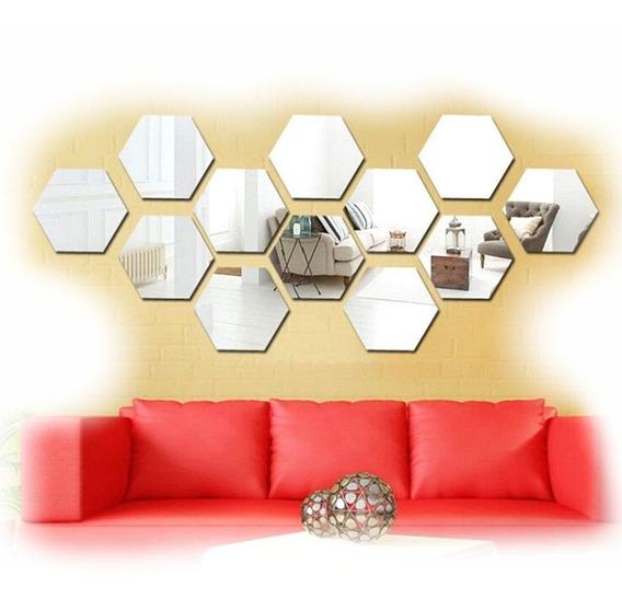 Espelho Acrilico Decorativo Hexagono 12 Pcs 18x15cm