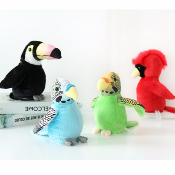 Pássaro Brinquedo Papagaio Eletrônico Falante Azul Movimento