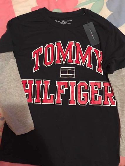 Camiseta Negra Tommy Hilfiger Niño De 8 A 10 Años