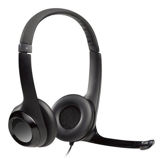 Headset Logitech H390 Usb 2.0 Em Couro Com Controle De Volum