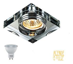Spot Cristal Quadrado Embutir Espelhado Banheiro + Led Ac593
