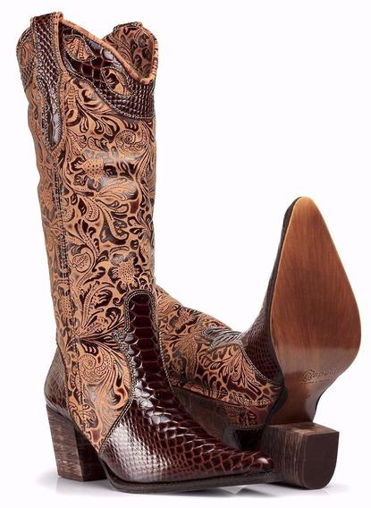 Bota Feminina Country Texana Couro Capelli Boots Promoção 10