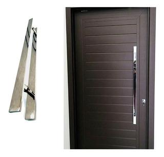 Puxador Chato Inox 45cm Para Porta De Madeira/ Vidro Polido