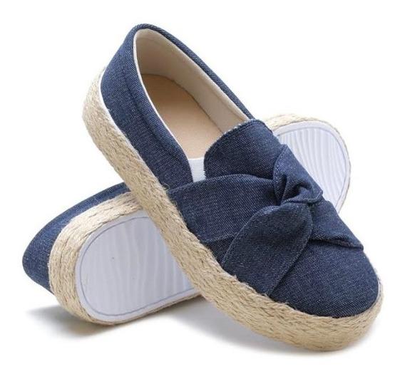 Slip On Nó Jeans Super Conforto Calu Solado Com Corda