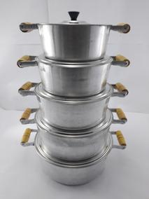 Jogo Com 5 Panelas Em Aluminio Batido Num 16/18/20/22/24