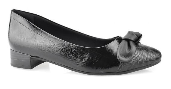 Sapato Comfortflex Bico Fino Salto Baixo Quadrado 1983303