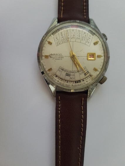 Relógio Pulso Suíço Marca Marcel, Ponteiros Banhados Ouro