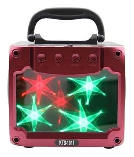 Parlante Bluetooth Portátil Karaoke Potenciado Kts Luz Led