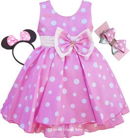 8ac0a2dbaf Vestido Fantasia Minnie Rosa Poá Super Luxo Com Faixa Tiara