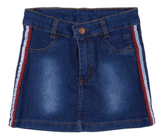 Saia Curta Jeans Juvenil Para Menina - Azul