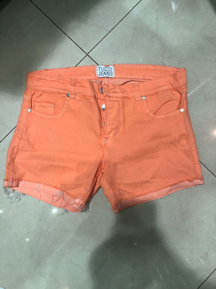 Short De Jeans Tucci Color Naranja Talle 32