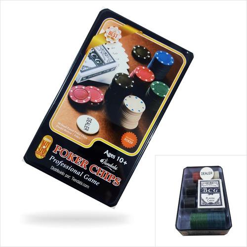 Poker Chips Juego De Mesa Con Cartas Y Fichas Estuche D Lujo