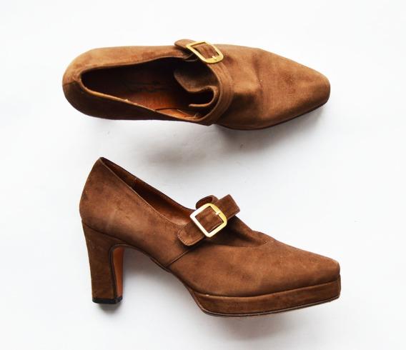 Zapatos Retro Gamuza Marrones Talle 35 Plantilla 23 Cm Impec