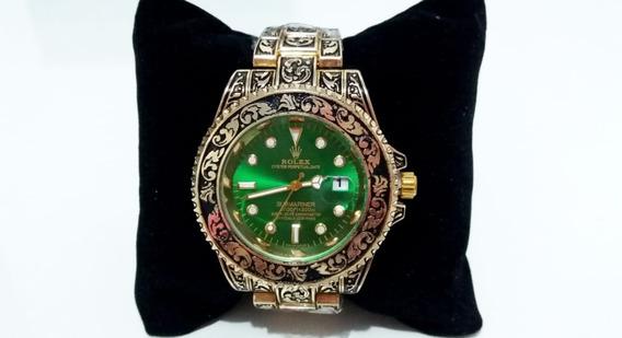 Relógio Submariner Skull Gold E Green 45mm.