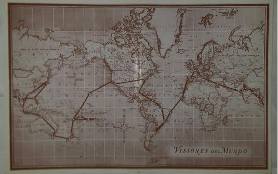 Mapamundi Antiguo Rutas Marcadas 42cm X 28cm