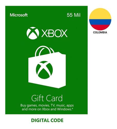 Tarjeta Regalo Xbox $55.000 Región Colombia Gift Card