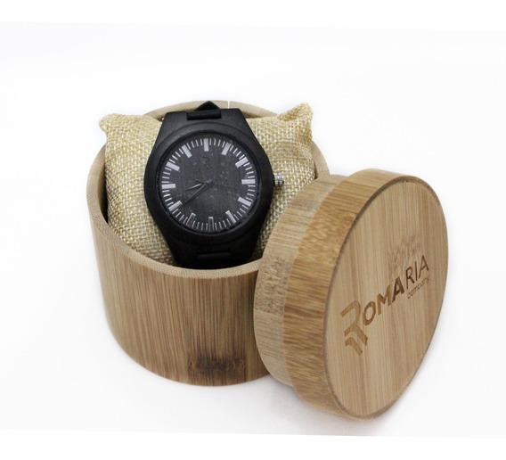 Relógio Madeira Preto Masc Analógico Com Caixa Frete Grátis