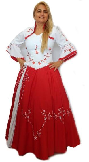 Vestido Prenda Vermelho Oxfordine Bordado Plissado