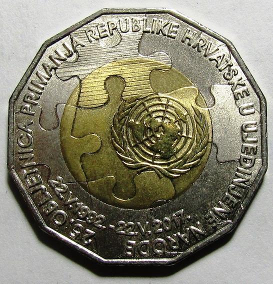 Croacia Moneda Bimetalica 25 Kuna 2017 Unc 25º Aniv Onu