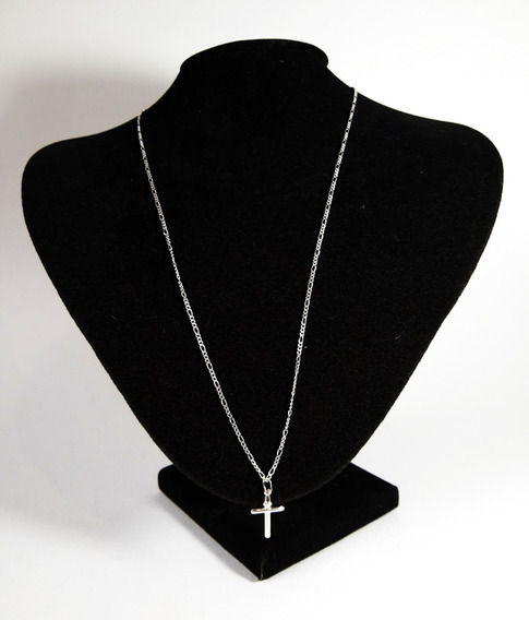 Corrente Prata 925 Colar Masculino Grumet 3x1+crucifixo 60cm