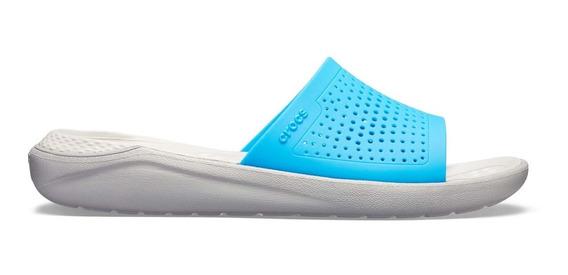 Sandalia Dama Crocs Literide Slide Azul/blanco